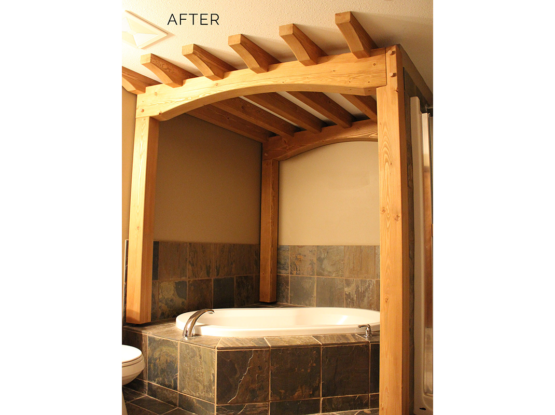 bathroom timberframe in ski condo renovation