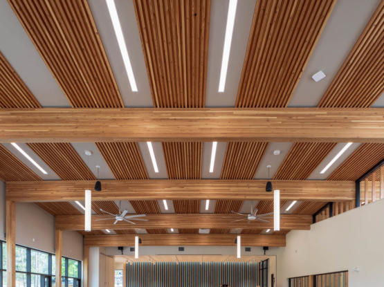 stacked timber dlt ceiling
