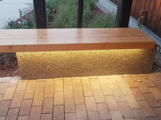 solid timber bench