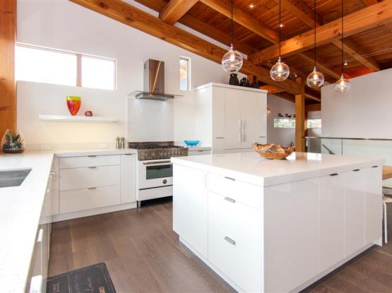 modern timberframe kitchen ceiling