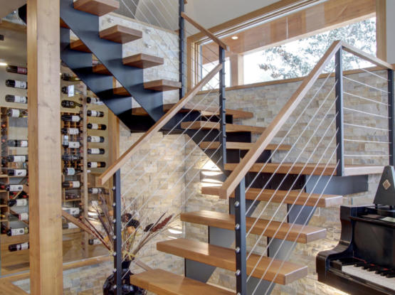open tread modern wood design timber stairs