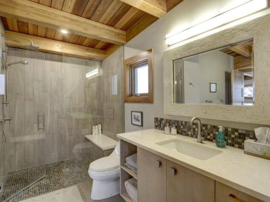 modern bathroom with timber ceiling