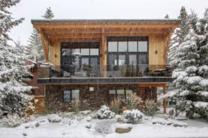 wood design components on a modern mountain residence exterior