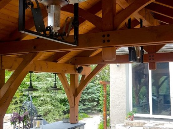 outdoor wooden gazebo and dining table
