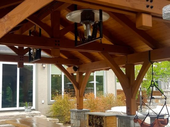timber pavilion and custom dining table in calgary