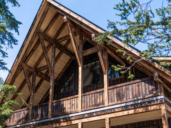 traditional timberframe house with dark wood