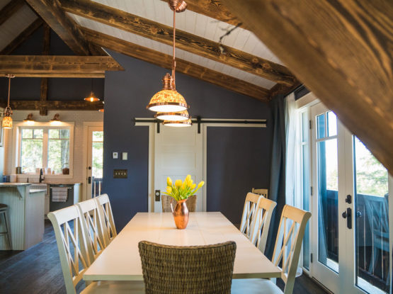 dark timbers in an open plan dining room
