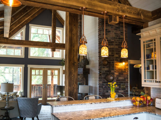 structural timber rafters in an open floor plan
