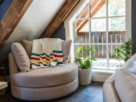cozy reading nook with timber components